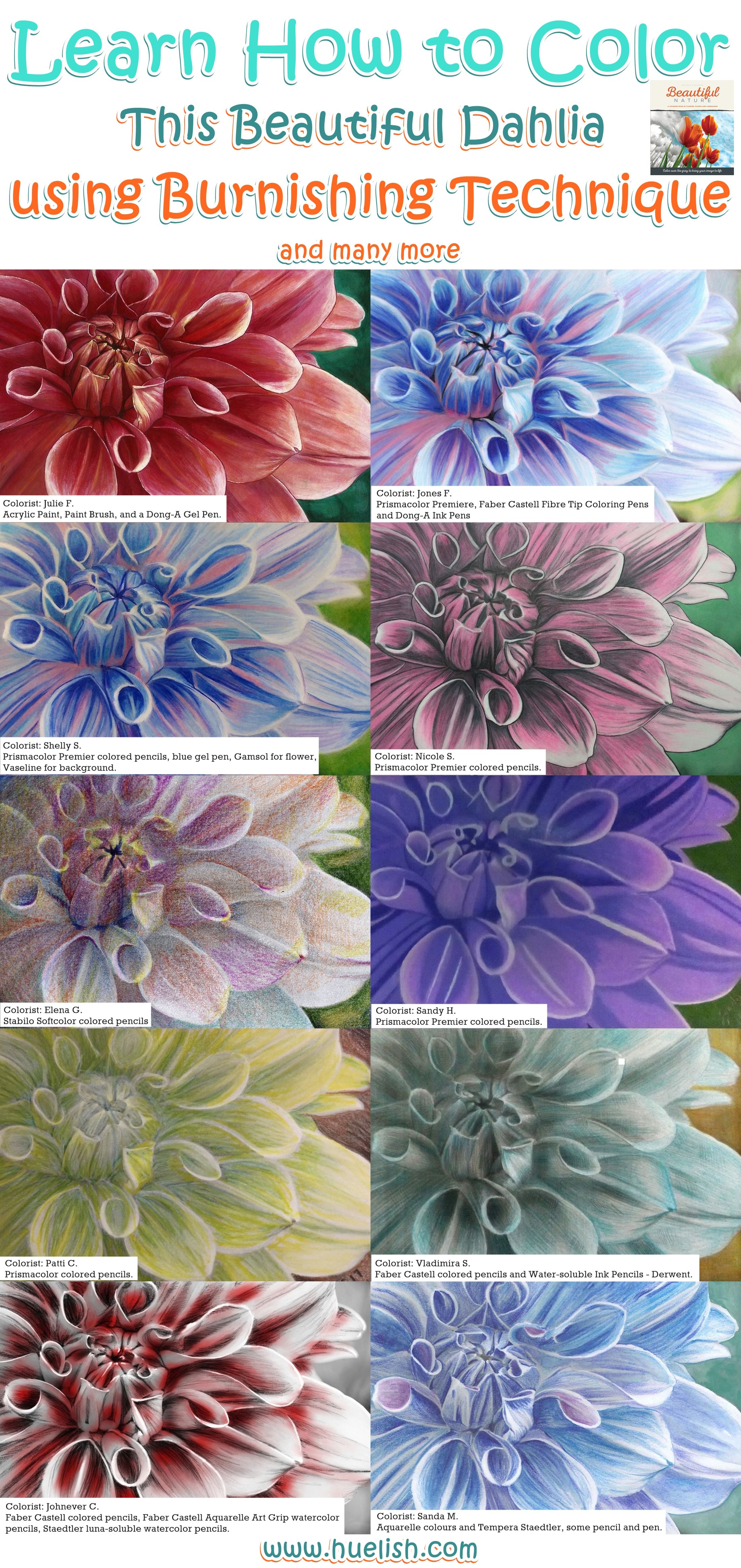 Here Are Examples Of The Dahlia Flower From The Beautiful Nature Grayscale Coloring Book Colored Grayscale Coloring Books Grayscale Coloring Coloring Book Art