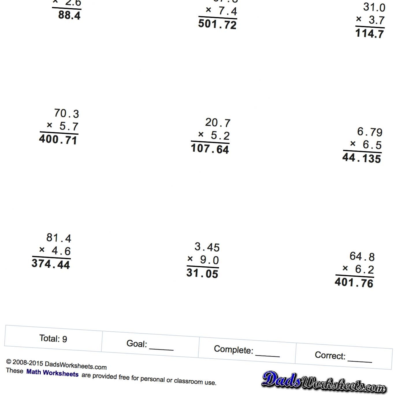 Multiplication Worksheets For Multiplication With Decimals
