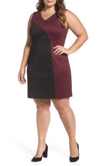 Plus Size Women's Ellen Tracy Colorblock Scuba Sheath Dress -- Learn more by visiting the image link. #bodybuilder