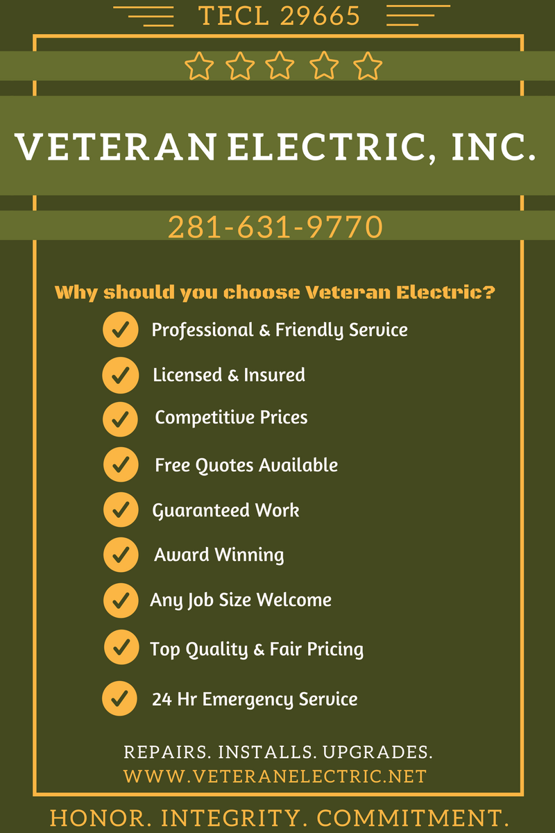 Veteran Electric Is A Premier Houston Electrician That Does What It Takes To Stand Tall And Sta Electrician Commercial Electrical Contractors Backup Generator