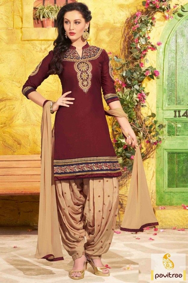 77f483f53f4 Flaunt your unique side with this trendy maroon cream chiffon wedding wear punjabi  salwar suit online shopping. Purchase latest fashion cotton santoon party  ...