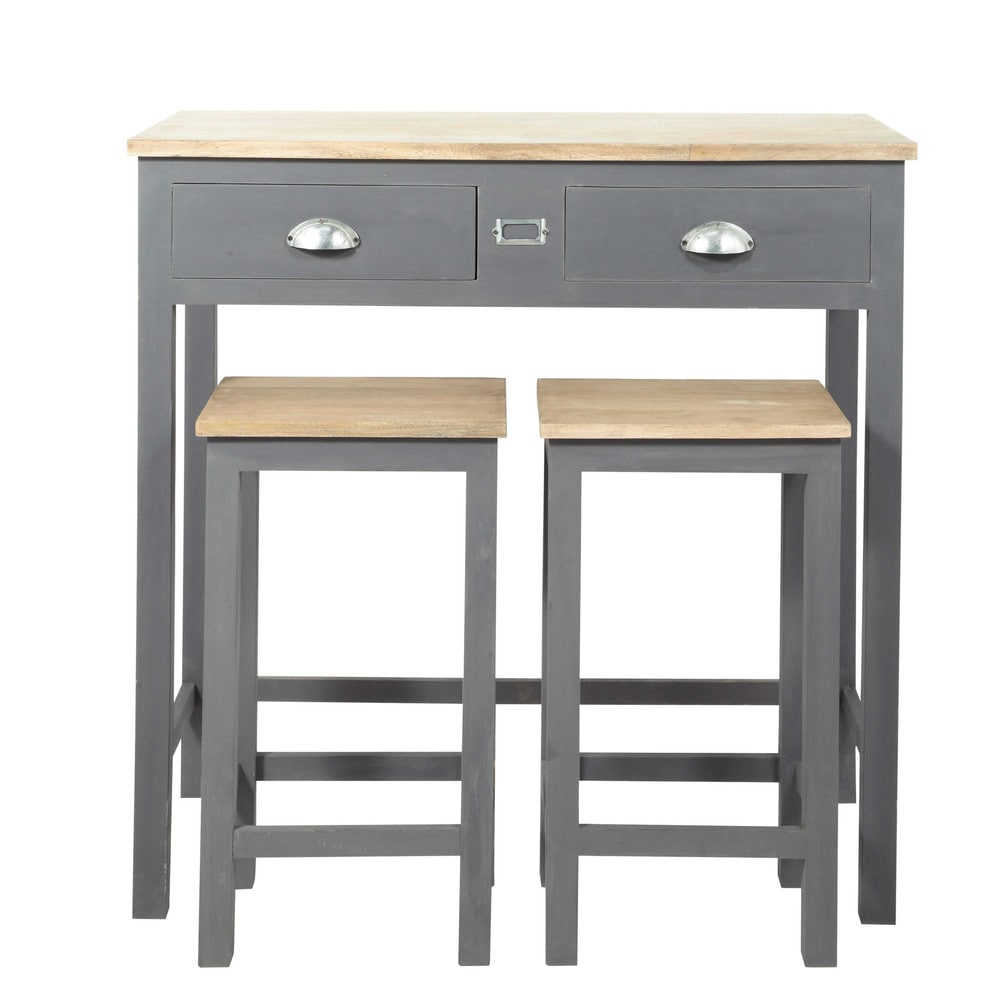 Table haute avec 2 tabourets en ch ne et pin gris table for Table haute cuisine et tabouret