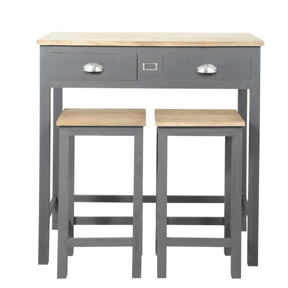 Table manger haute et 2 tabourets gris l90 table haute tabouret en bois et tabouret - Table a manger haute ...