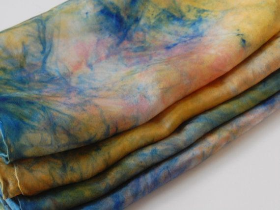 Hand Painted Silk Scarf - in the colors of Twilight by QuirkyConcepts