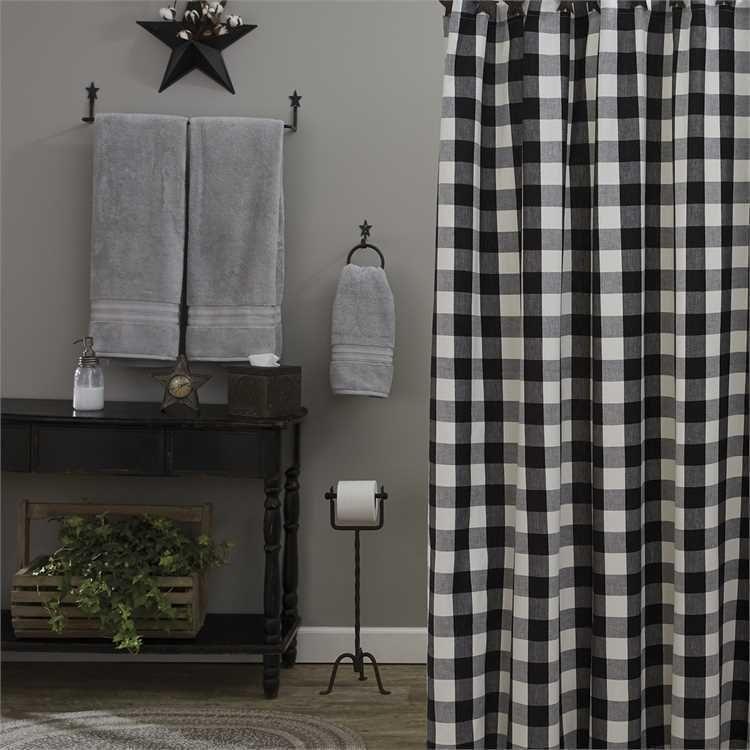 Shower Curtain Black Cream Buffalo Check Fabric Wicklow Park