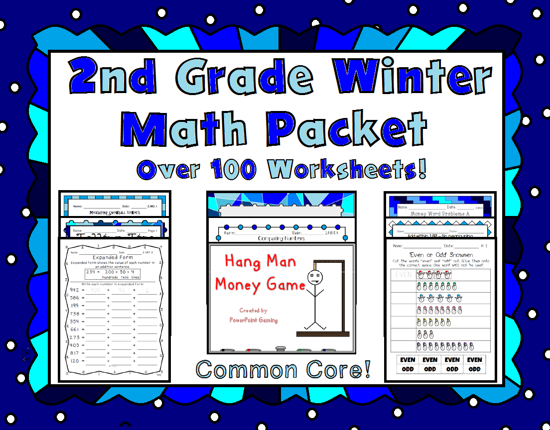 2nd Grade Winter Math Packet - Common Core Aligned | Common cores ...