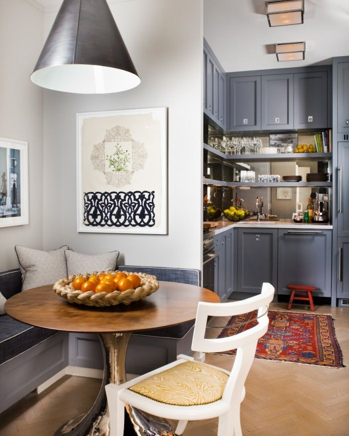 """i love this idea of a """"breakfast nook"""" or a small eating area with banquet seating.  i also imagine this kitchen to be nice and long and open up to a dining room :)"""