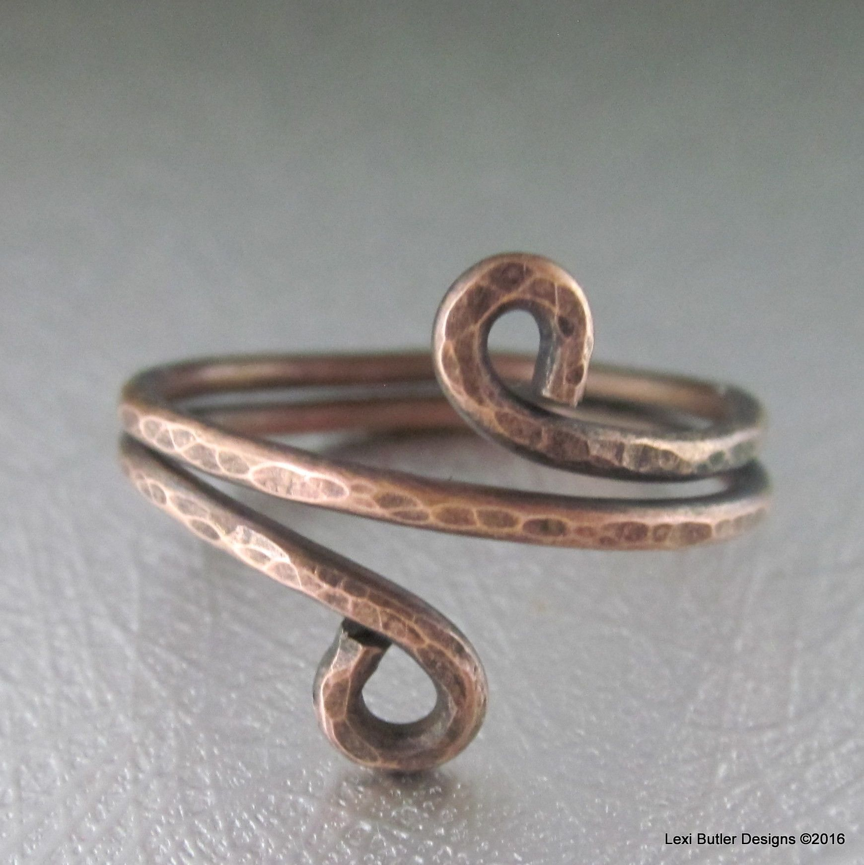 Copper Wire Wrap Antiqued BOHO Chic Ring | Copper wire, Wire ...