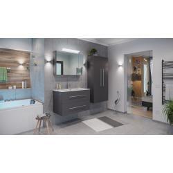 Bathroom furniture set Firenze 90 (4- piece / C) incl. Mirror cabinet anthracite silk gloss emotion#anthracite #bathroom #cabinet #emotion #firenze #furniture #gloss #incl #mirror #piece #set #silk