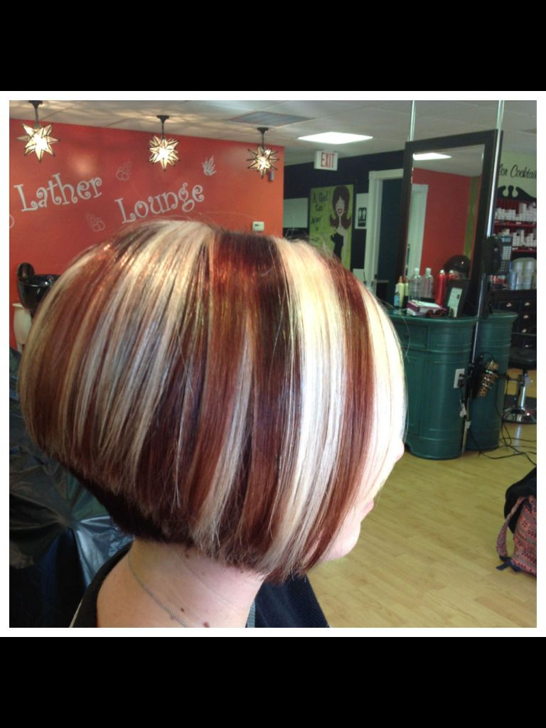Lowlights On Stacked Bob For Thick Hair