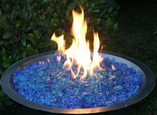 Fireplace Glass San Diego: Stainless steel fire pit drop-in pan with Blue  Large Glass Rocks.(888) 786-6344 - Fireplace Glass San Diego: Stainless Steel Fire Pit Drop-in Pan With