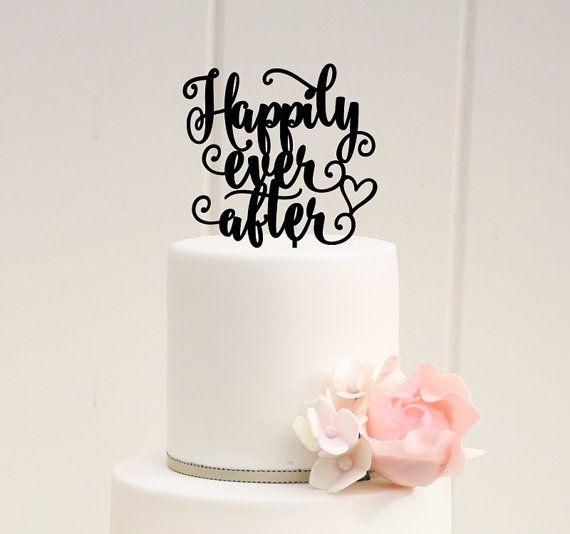 Happy ever after proposition mariage fiançailles gâteau décoration topper acrylique