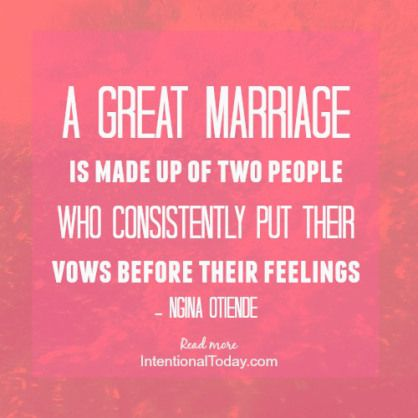 The health of your marriage is determined by the choices you make ...