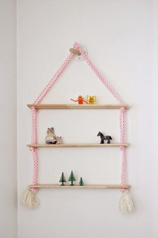 Estante colgante con cuerda y madera de pino diy dormitorios para ni os diy pinterest - Dulce hogar villalba ...