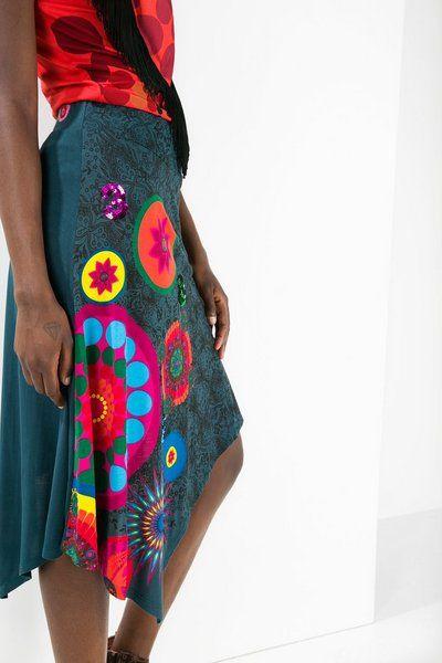 Desigual Asymmetric midi skirt. Discover the fall-winter 2015 collection!
