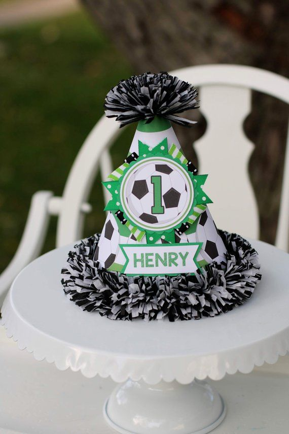 c6c424a1cf3da4 Soccer Birthday Party Hat, Soccer Party, Soccer Birthday Decorations, Green  & Black, Sports First Birthday