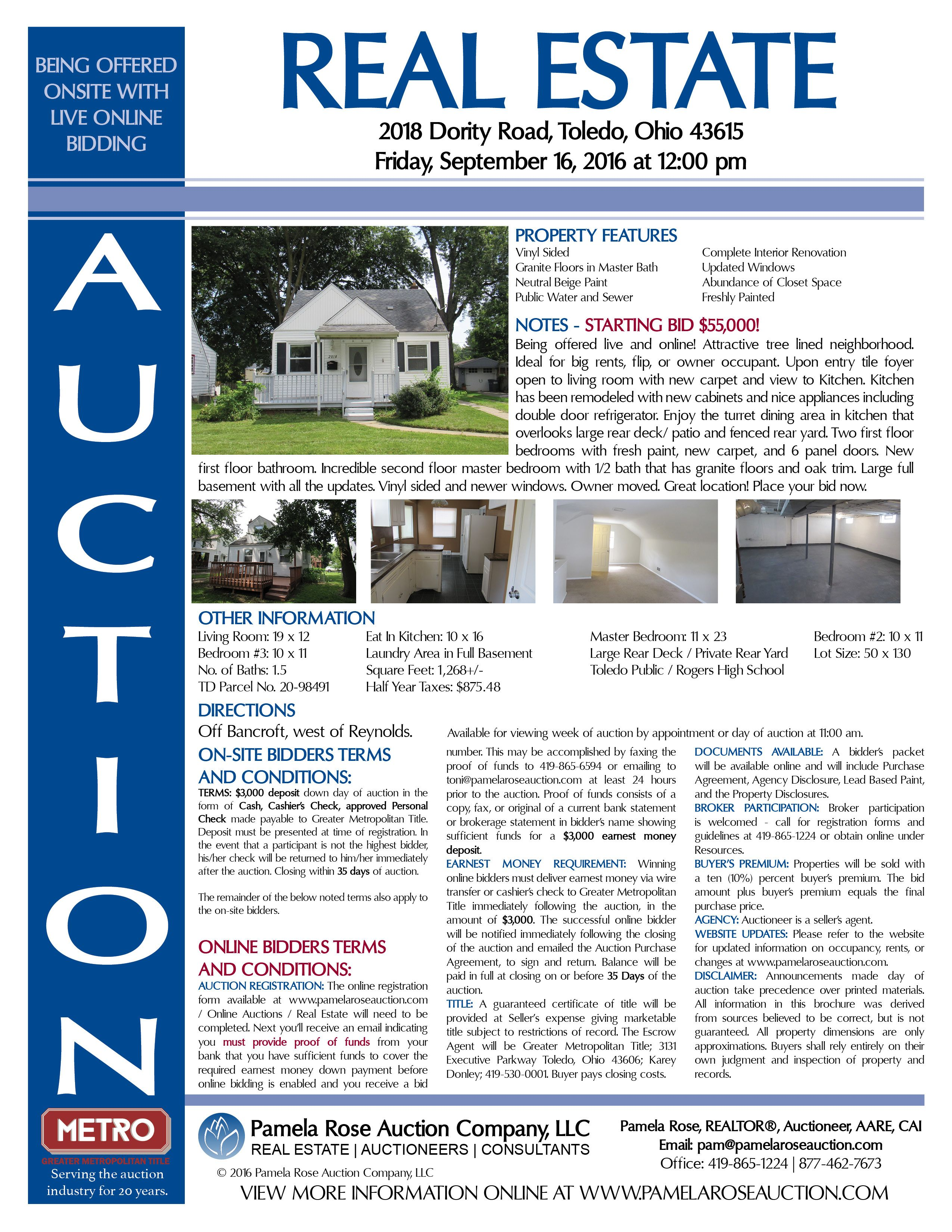 Live and Online Real Estate Auction – Starting Bid $55,000