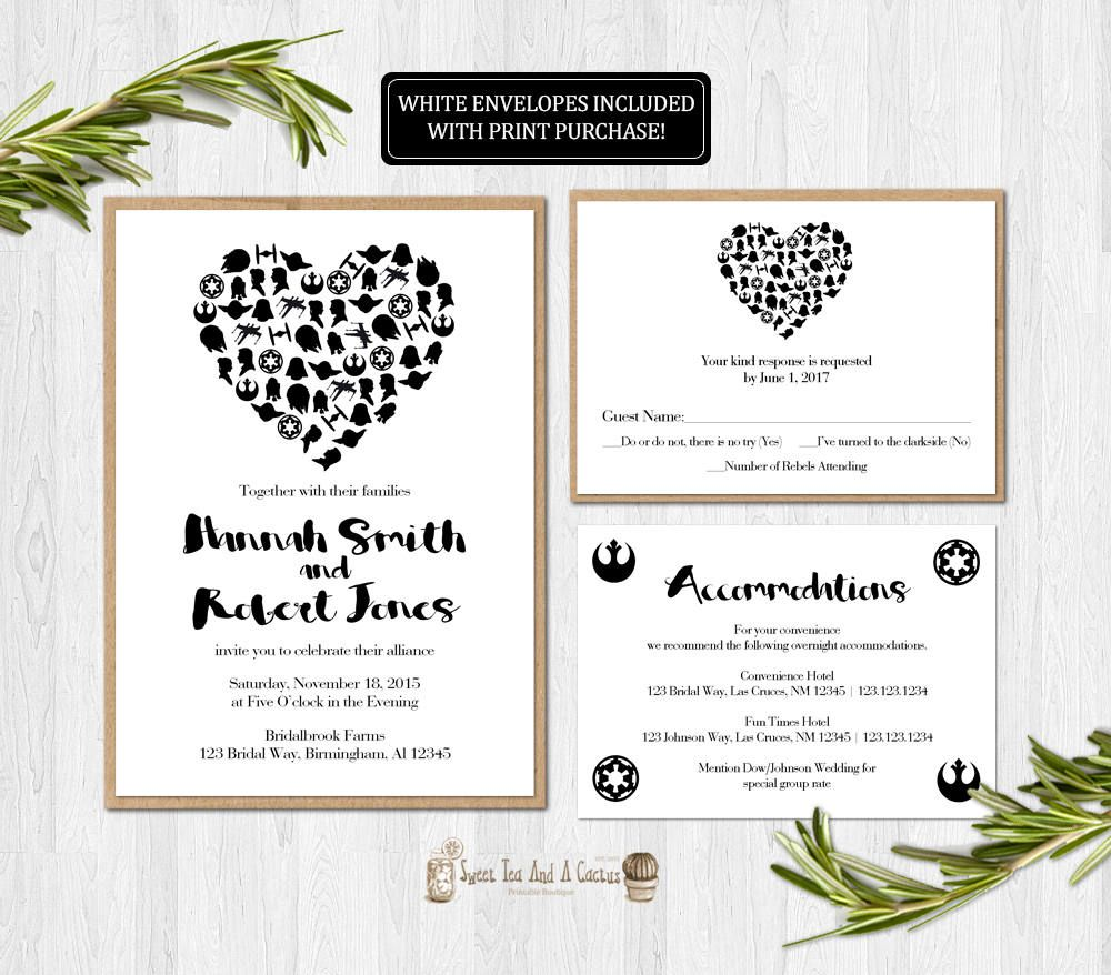 Star Wars Wedding Invitation Printable Set Suite Rsvp Card Best ...