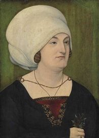 Artwork by Swabian School, 16th Century, Portrait of a lady, bust-length, in a gold embroidered black dress and a white headdress, holding a sprig of nightshades and forget-me-nots, Made of oil on panel