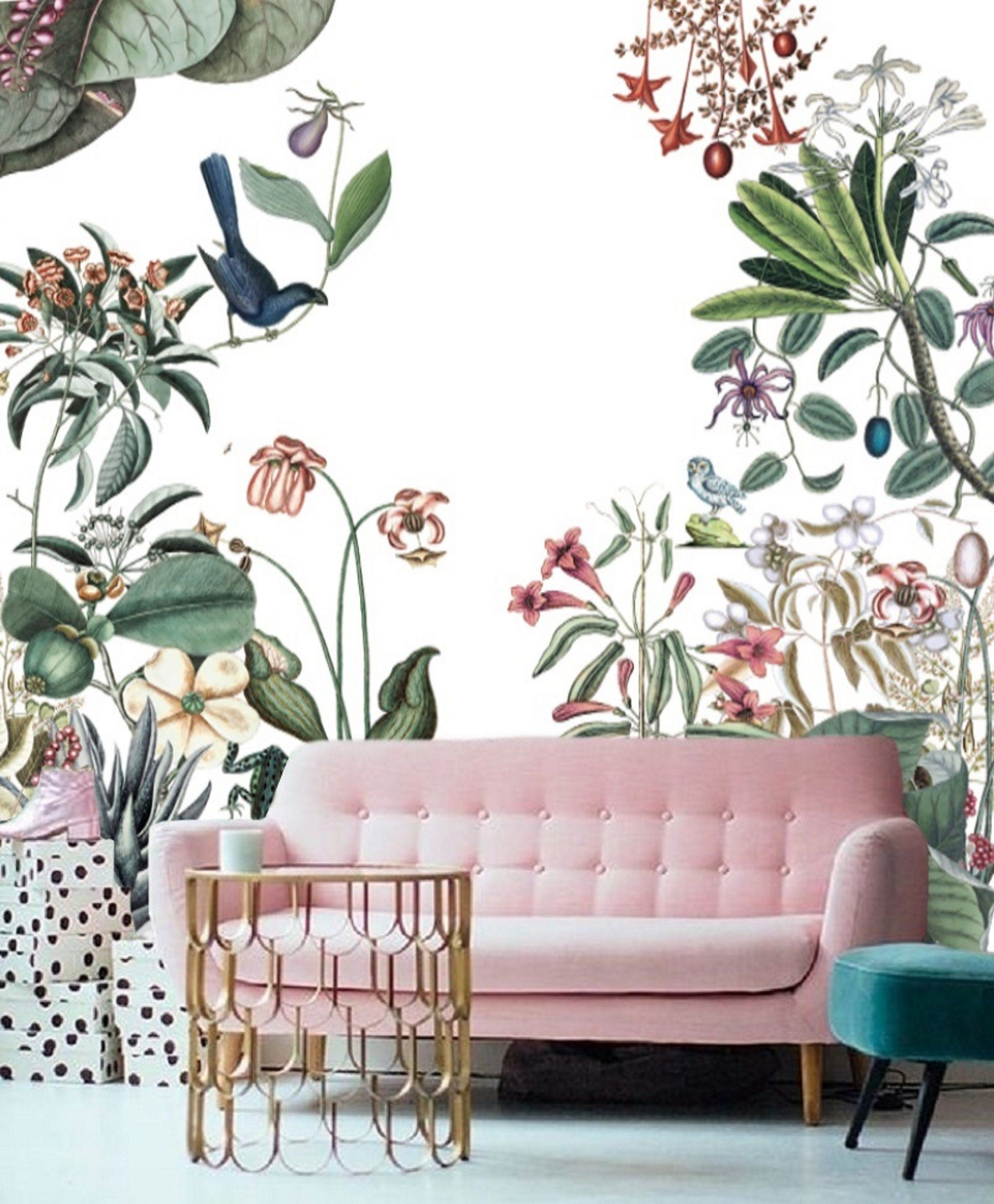Wall Paper Large Floral Wallpaper Mural Remove Wallpaper Peel Etsy Large Floral Wallpaper Mural Wallpaper Wall Wallpaper