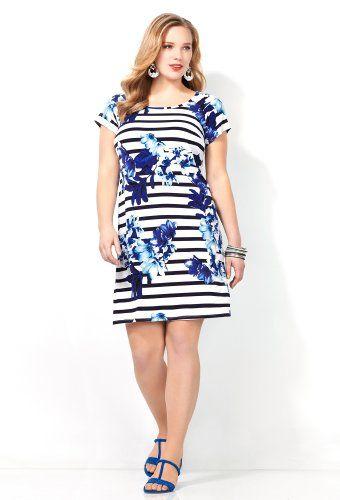 Fashion Bug Womens Stripe and Floral Print Sheath Dress. www.fashionbug.us #curvy #fullfigured #plussize