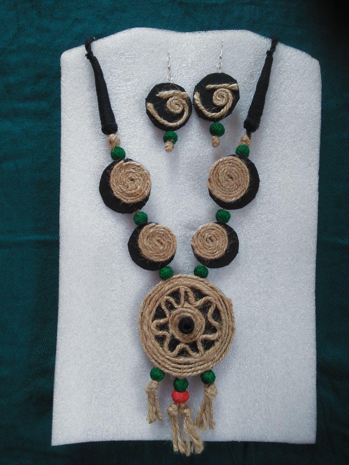 Jute necklace set* Handmade jewelry*   Handmade fashion jewelry, Handmade  jewelry designs, Jewelry patterns