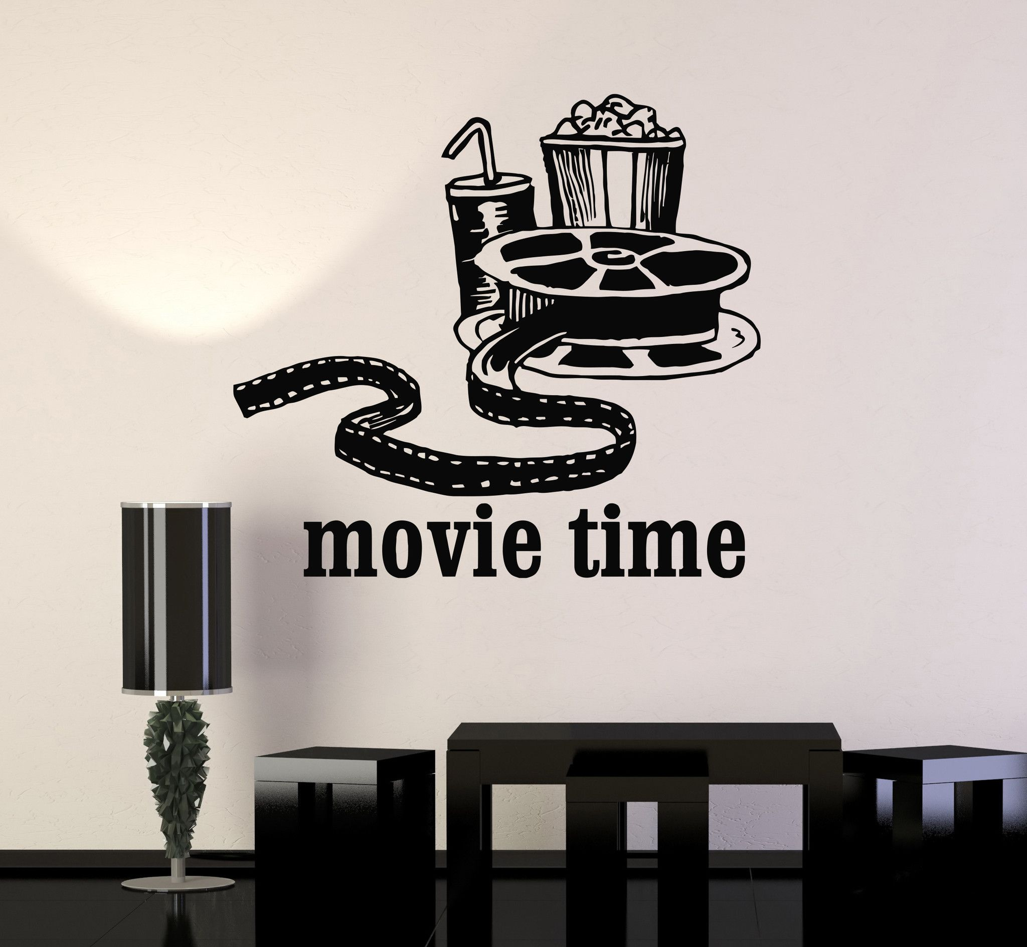 Wall Sconces For Media Room: Vinyl Wall Decal Movies Cinema Film Popcorn Room Decor