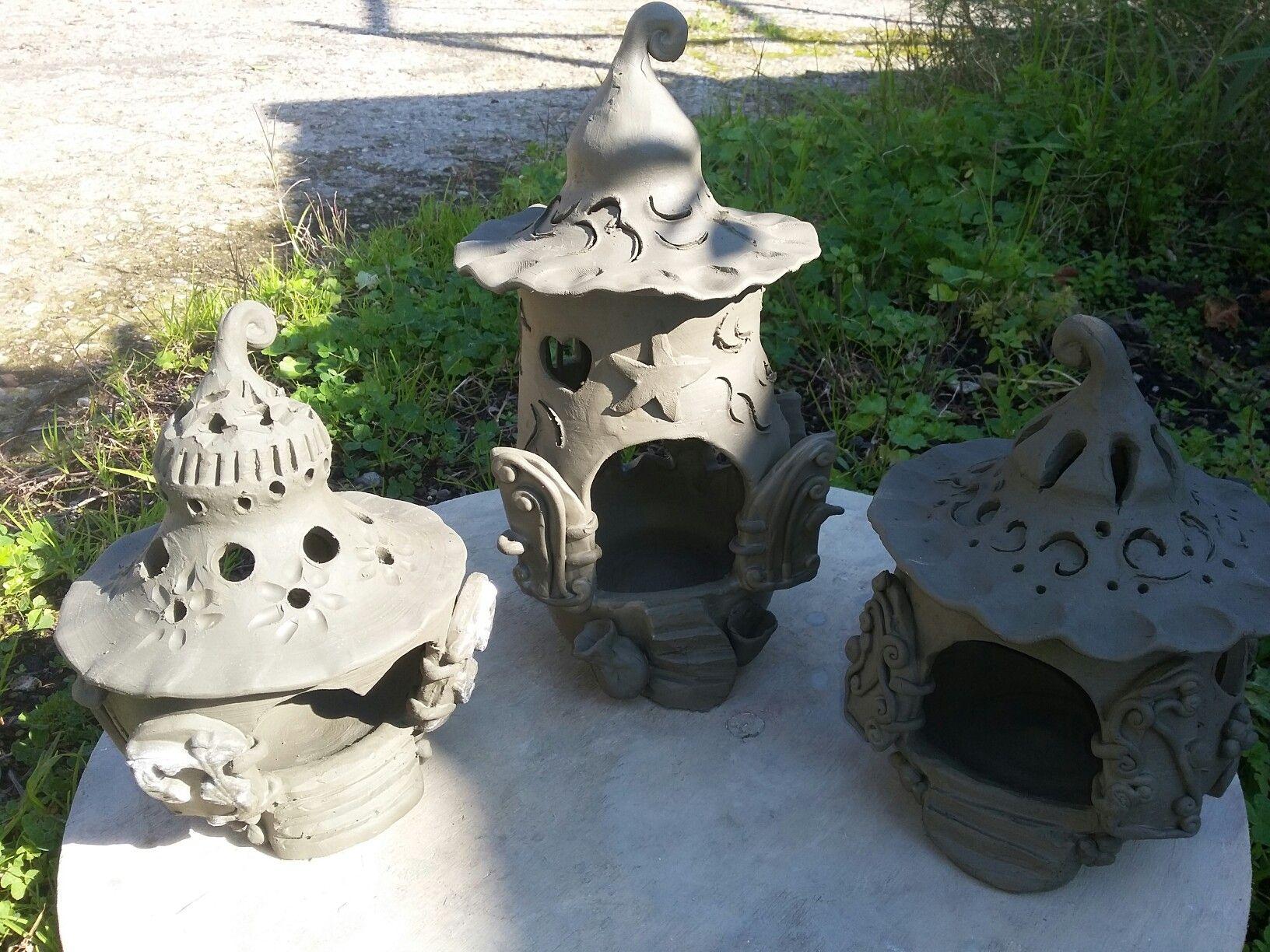Lampada portacandela casa delle fate dell 39 etna ceramica for Piani casa delle fate
