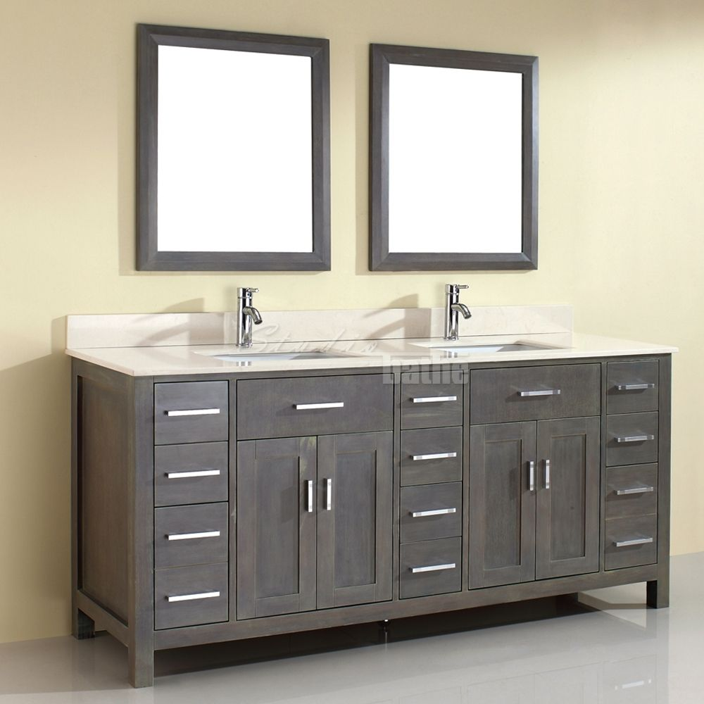 Double sink bathroom vanity kalize 75 french gray finish for Bathroom double vanity design ideas