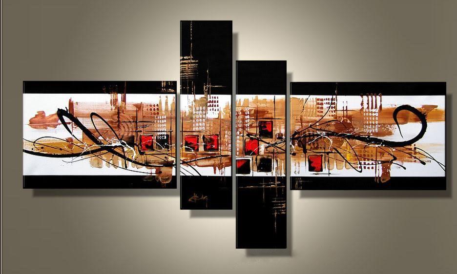 Modern Interieur Schilderij : Original painted wood block wall art abstract painting modern