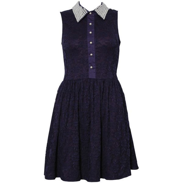 1c9a57c112648 Rare London Pearl Collar Lace Shift Dress ($87) ❤ liked on Polyvore ...