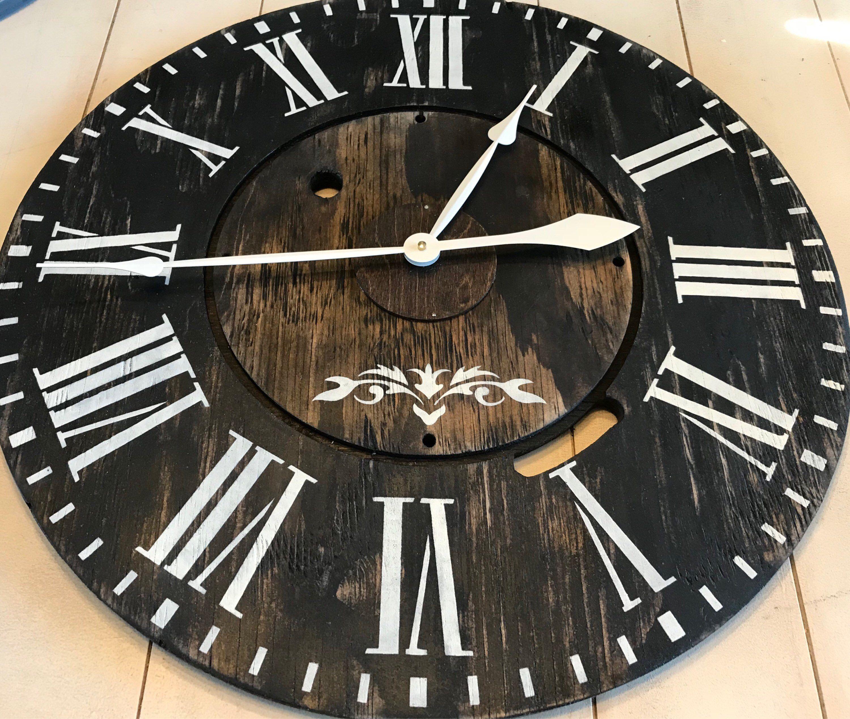 Black oversized farmhouse wall clock large clock roman