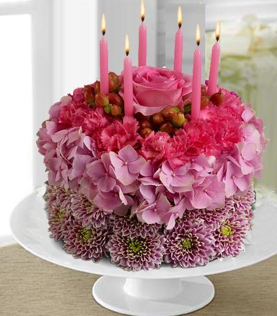 открытки с днем рождения торт из роз персонажи картинках для