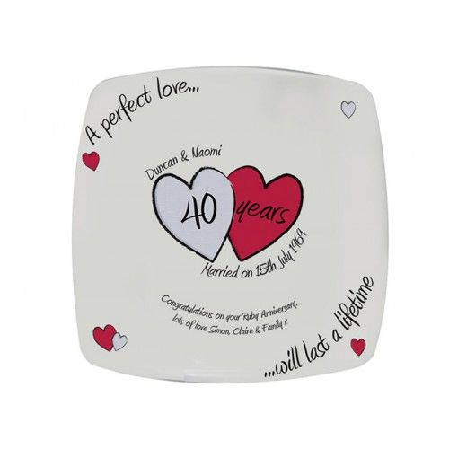 Personalised Perfect Love Ruby Anniversary Plate From Www