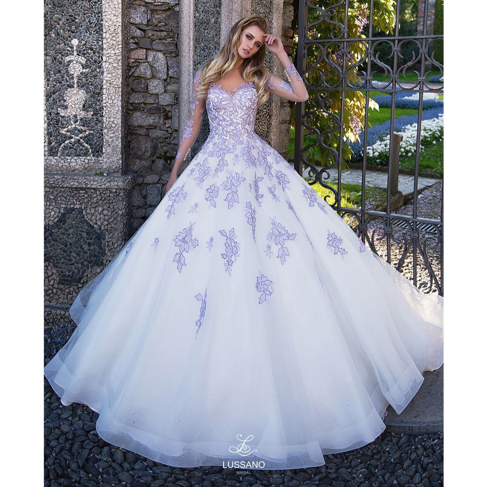 White And Purple Ball Gown V Neck Wedding Dresses With Long Sleeve