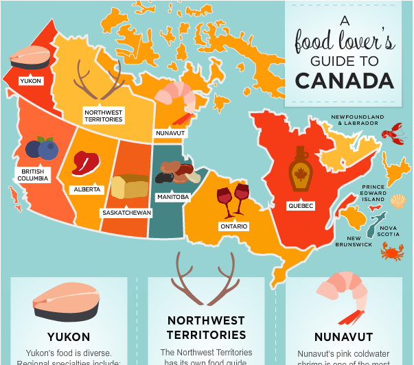 Canada An Infographic Map Canada food map infographic.png (603×532) | Food infographic, Food