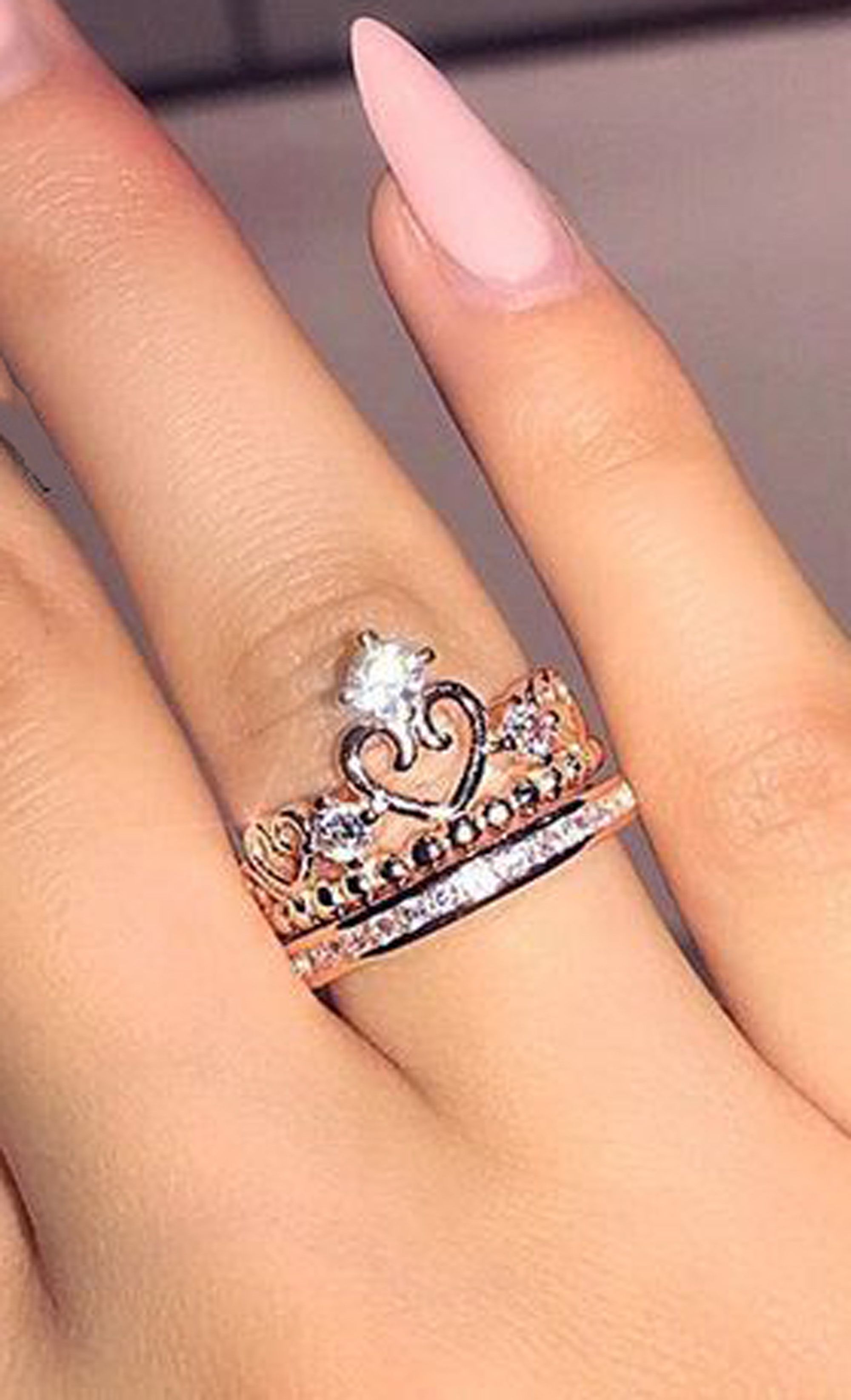 f46ccc38b Adrianna Cute Crystal Princess Crown Promise Fashion Ring in Silver ...