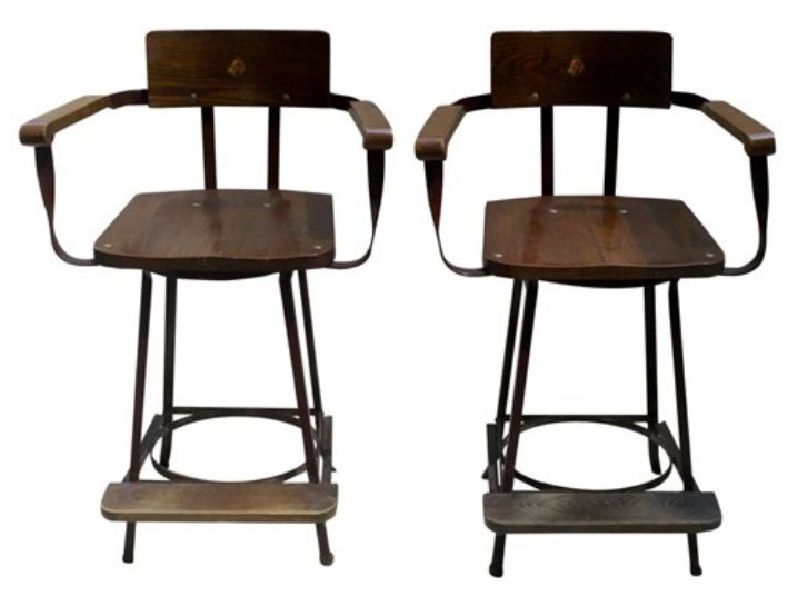 PAIR OF VINTAGE BRUNSWICK BILLIARD CHAIRS Http://vandm.com/Brunswick  Pictures Gallery