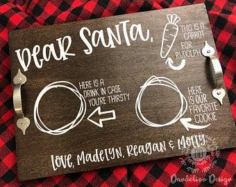 Santa tray Etsy Dear santa, Cookie tray