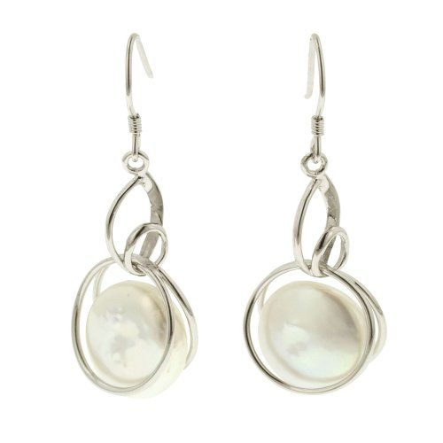 Sterling Silver White Coin Freshwater Cultured Pearl Dangle Earrings (14-15mm )