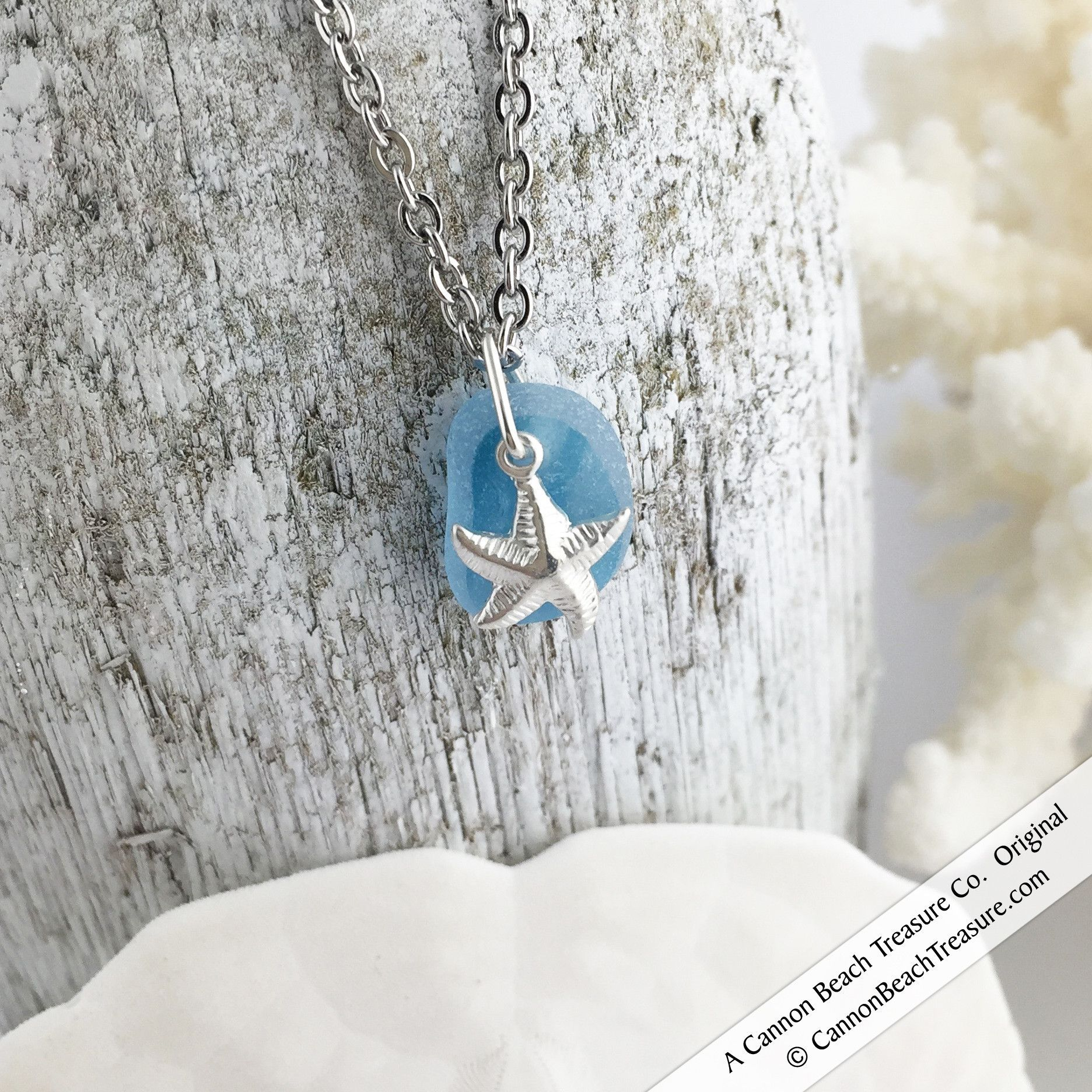 Soft Turquoise Striped English Sea Glass Multi Pendant with Sterling Star Fish