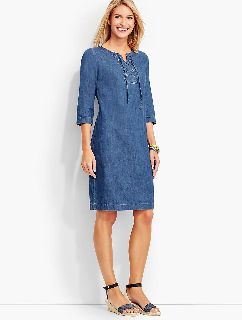 Lace Up Denim Henley Dress True Blue Wash Talbots Classy Summer Dress Classy Denim Classy Dress [ 1057 x 800 Pixel ]