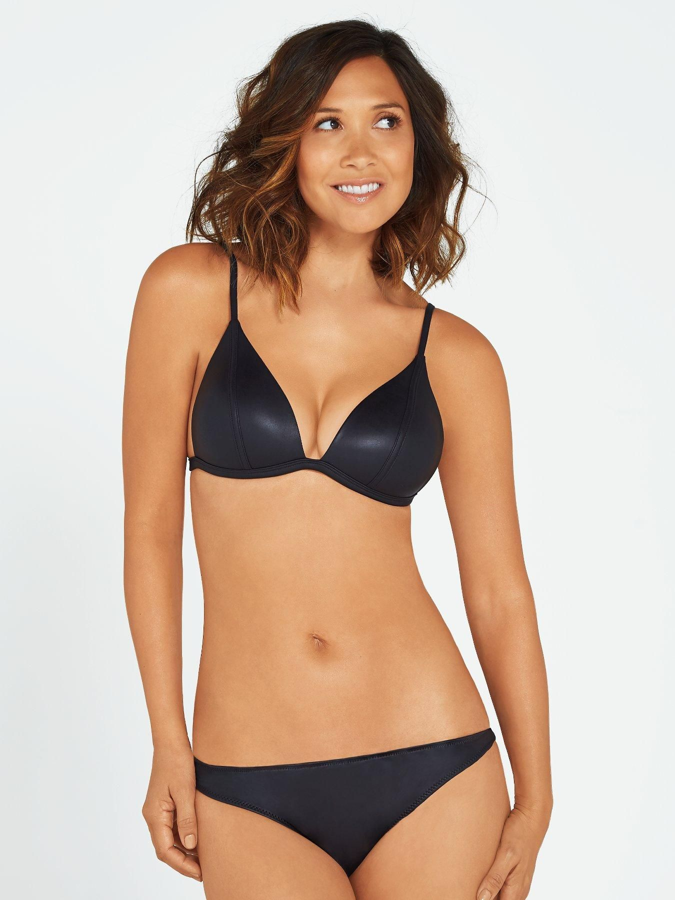 Myleene Klass Neoprene Wet Look Bikini Set Black