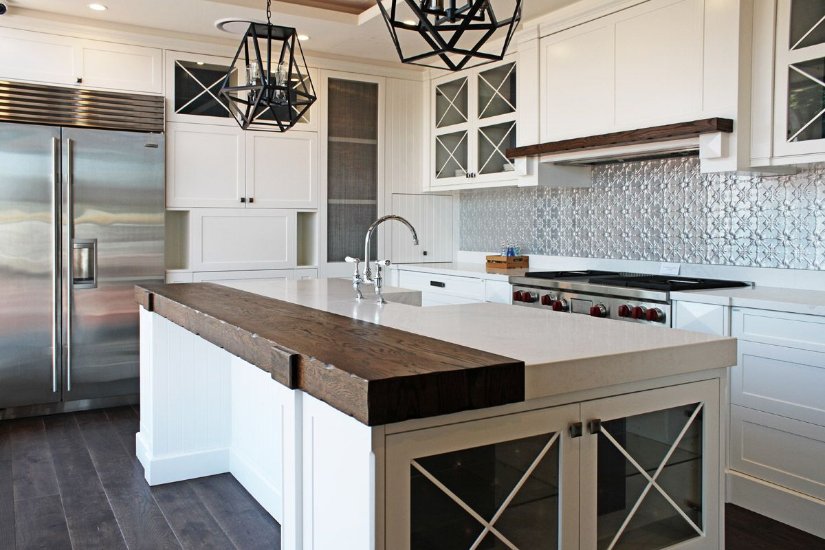 Impala Kitchens Drummoyne Pressed Metal Splashback Caesarstone Benchtops Hamptons Kitchen