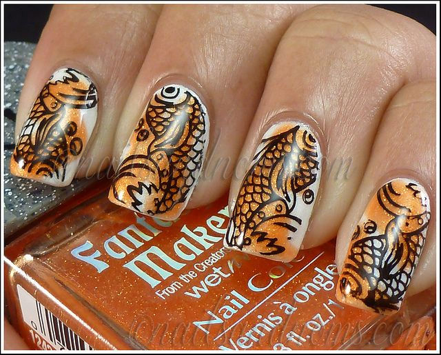 Day 2 - Orange Nails | Fish nails, Nail stamping plates and Stamping ...