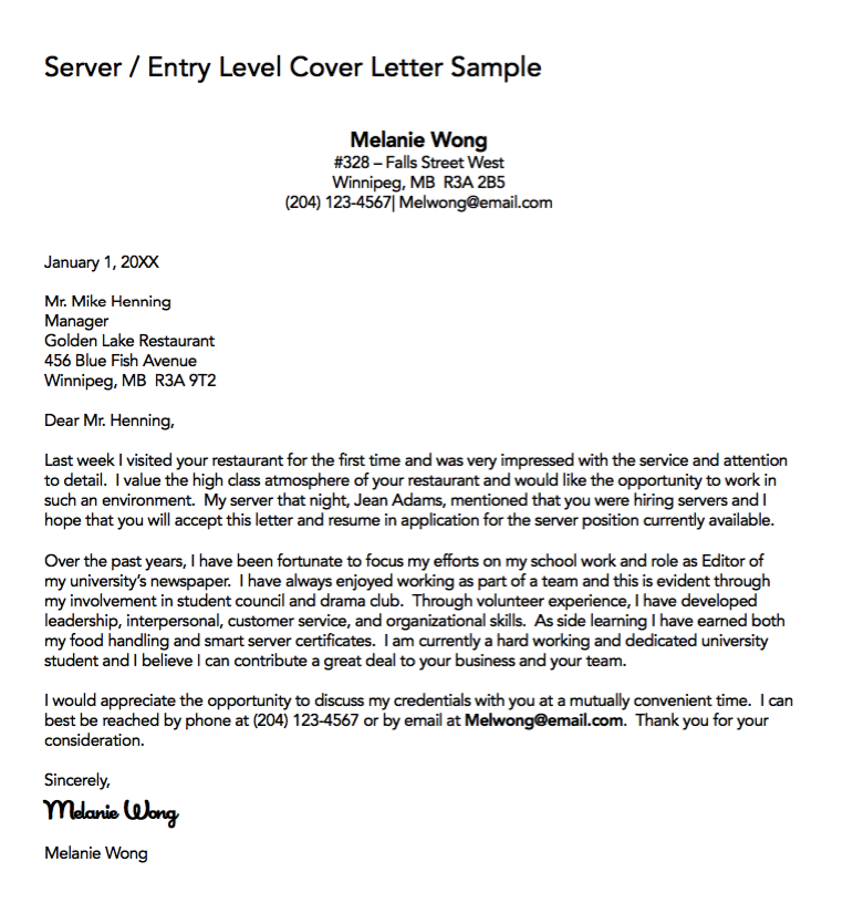 Server Cover Letter Sample  HttpExampleresumecvOrgServer