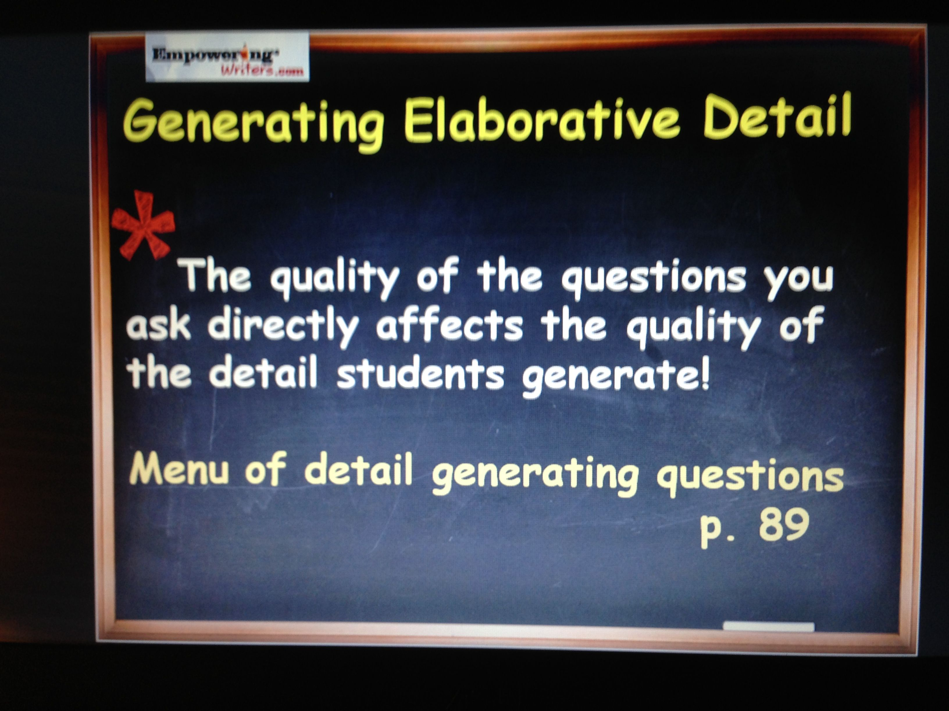 Detail Generating Questions From Empowering Writers Don T Just Ask Your Students For More On