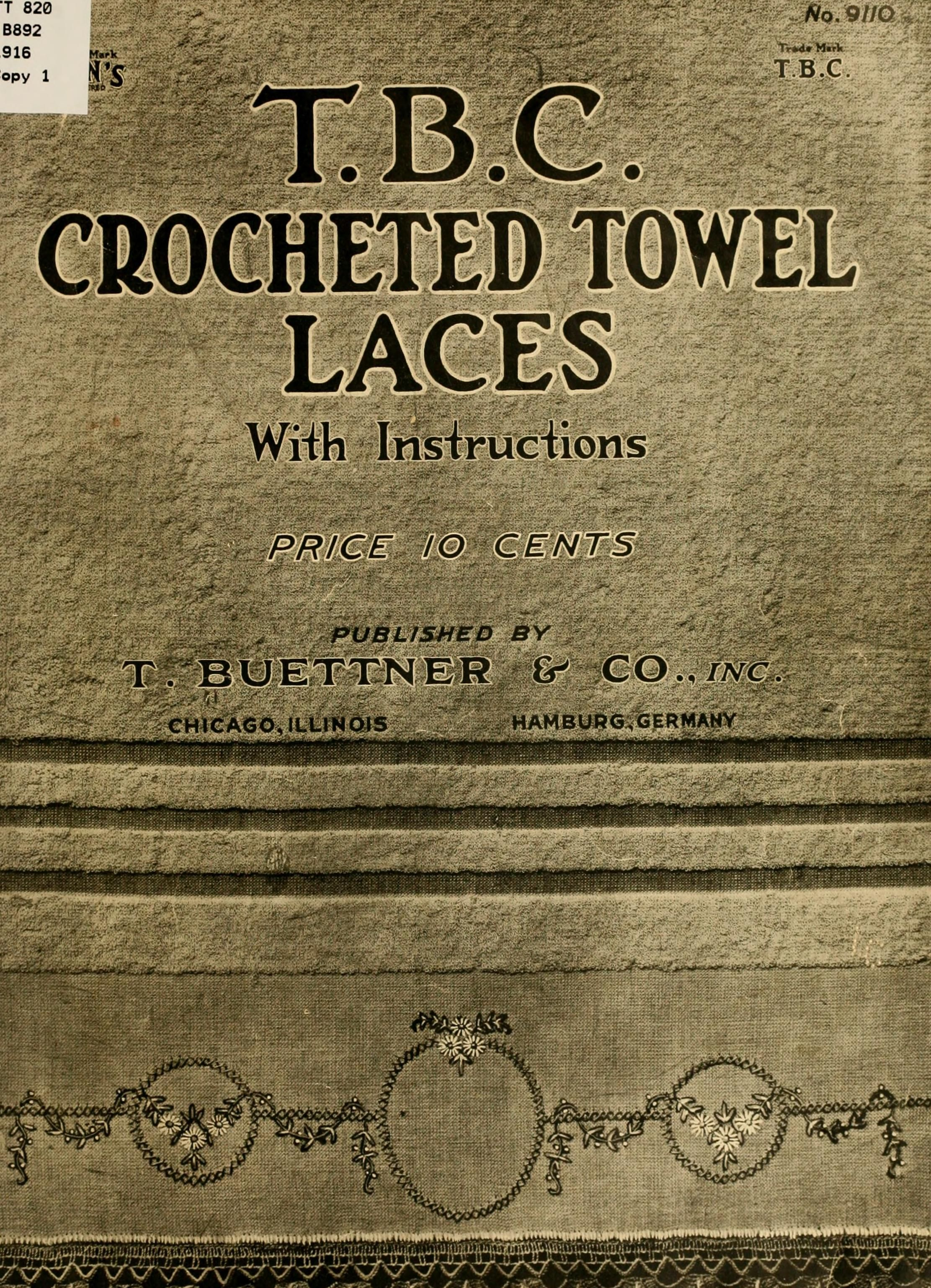 T. B. C. crocheted towel laces with instructions