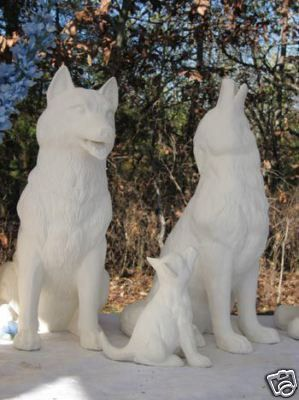 Huge Realistic Wolf Howling Wolf Garden Statue Yard Yard Ornaments, Ceramic  Bisque, Largest Wolf