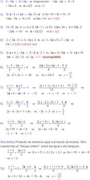 Ecuaciones Primer Grado Ecuaciones Primeros Grados Ejercicios Resueltos